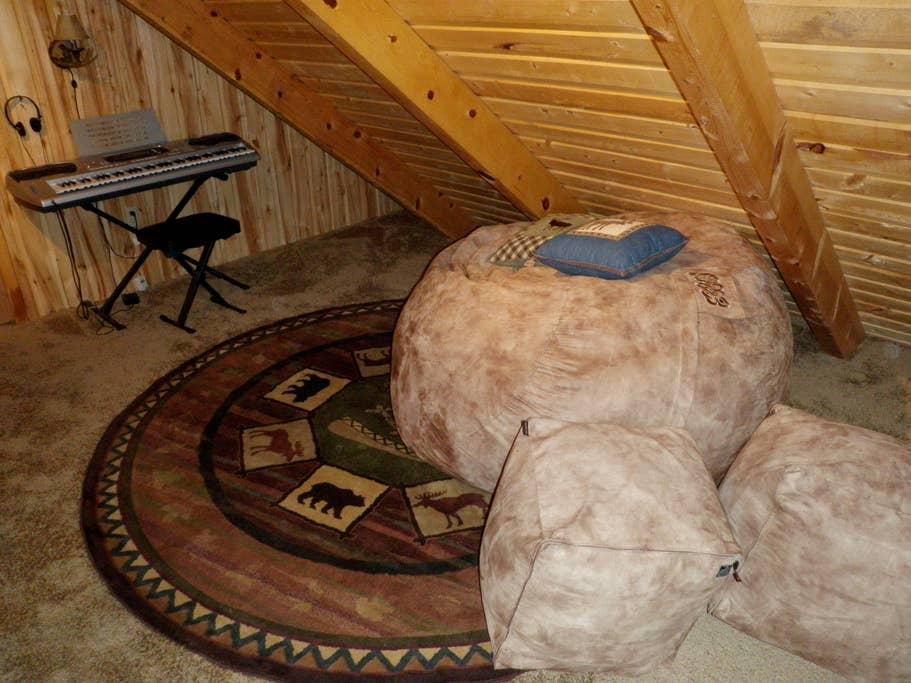 Deluxe beanbags in loft.